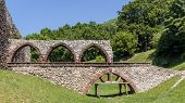 stock photo of fortified wall  - Fragment of the Bedzin Castle - JPG