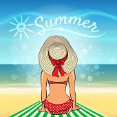 pic of sunbather  - Beautiful woman sunbathing on the beach against lettering Summer - JPG