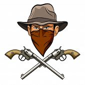 foto of bandit  - Bandit face in hat and bandana and two big guns - JPG