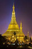 stock photo of yangon  - Shwedagon pagoda at night in yangon Myanmar - JPG