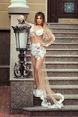 picture of irresistible  - Girl in a long transparent dress standing near old streetlamp - JPG