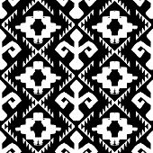 stock photo of native american ethnicity  - Vector seamless ethnic pattern with american indian motifs in black and white colors - JPG