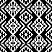 picture of native american ethnicity  - Vector seamless ethnic pattern with american indian motifs in black and white colors - JPG