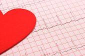 stock photo of electrocardiogram  - Electrocardiogram graph and heart shape ekg heart rhythm medicine concept - JPG