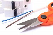 picture of wire cutter  - Cable cutter electric wire and fuse lying on white background accessories for engineer jobs repair of cable - JPG