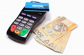 image of cash  - Payment terminal with contactless credit card and money on white background credit card reader payment terminal with cash finance concept - JPG