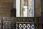 picture of municipal  - Subway Entrance under the Municipal Building by City Hall in New York City - JPG