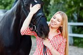 stock photo of horse girl  - Best friends - JPG