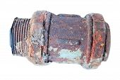 stock photo of gash  - Old rusty pipe on a white background - JPG
