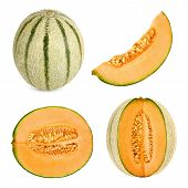 stock photo of cantaloupe  - Collage set of 4 studio shots of a Cantaloupe melon also referred to as honeydew cut in different shapes isolated on white background - JPG
