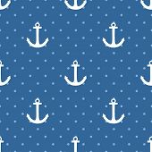 image of navy anchor  - Tile sailor pattern with white anchor and blue polka dots on navy blue background for seamless decoration wallpaper - JPG