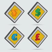 image of isometric  - ?ollection of four isometric signs of world currencies. Isometric icons. Vector element of graphic design - JPG
