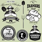 image of farmer  - set of badges with the farmer and vegetables for the farmers shop - JPG