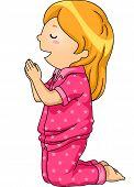 pic of pajamas  - Illustration of a Girl in Pajamas Praying Before Going to Sleep - JPG