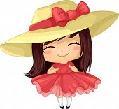 image of girly  - Illustration of a Girl in a Frilly Dress Wearing a Large Hat - JPG