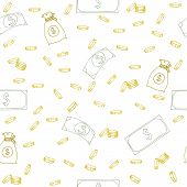 stock photo of money  - Seamless pattern with money - JPG