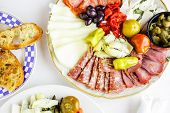picture of vegetarian meal  - Appetizers plate with vegetarian antipasto in Italian restaurant - JPG