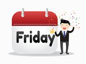 stock photo of friday  - Businessman standing with calendar and happy on friday - JPG