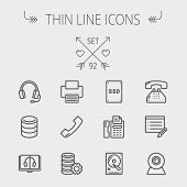 Technology thin line icon set for web and mobile. Set includes - headphones, server, printer, fax ma poster