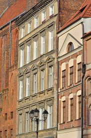 foto of tenement  - Gothic tenement houses in old town Torun listed by UNESCO organisation - JPG