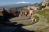 Taormina, teather. greek, roman, Etna, Sicily, Italy