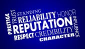 Reputation Trust Credibility Respect Word Collage Illustration poster