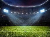 3d rendering of sport concept background - soccer footbal stadium with floodlights. Grass fooball pi poster