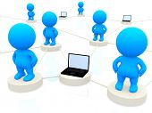 3D people networking with laptop computers isolated over a white background
