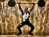 Graffiti stencil of a man weightlifting