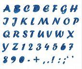Frosty Pattern On Dark Blue Glass, Letters