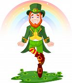 stock photo of gold panning  - Full length drawing of a leprechaun dancing a jig for St - JPG