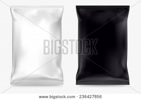 poster of Vector Blank Packing Chips Isolated On White Background. White And Black Packing Of Snacks. Realisti