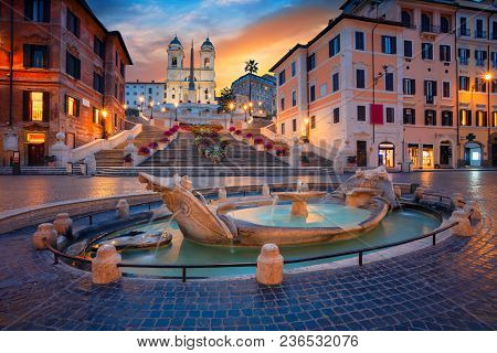 poster of Rome. Cityscape Image Of Spanish Steps In Rome, Italy During Sunrise.