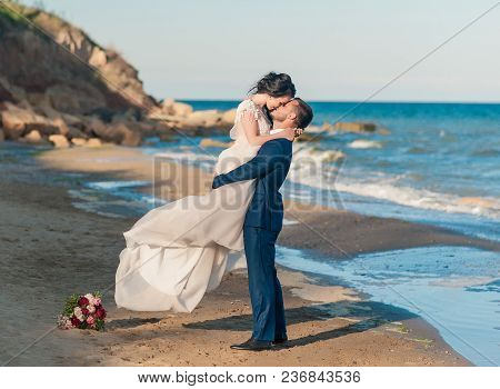poster of Wedding Couple. Beautiful Bride And Groom. Just Merried. Close Up. Happy Bride And Groom On Their We