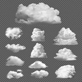 Collection Big Set Of Realistic White Clouds On A Transparent Background. Templates Of White Fluffy  poster