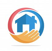 Logo Icon With The Concept Of Home Care, Home Insurance poster