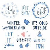 Collection Of Different Winter, Snow Quotes, Typographic Elements, With Hand Drawn Mittens, Snowflak poster