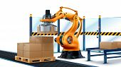 Robot Palletizing Systems, Robotic Arm Loading Cartons On Pallet. poster