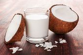 Healthy Coconut Milk In Glass With Shredded Coconut With Coconut Flakes On Wooden Table. poster
