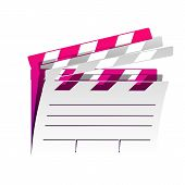 Film Clap Board Cinema Sign. Vector. Detachable Paper With Shadow At Underlying Layer With Magenta-v poster