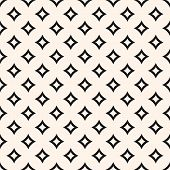 Vector Seamless Pattern With Curved Diamond Shapes, Outline Rhombuses. Simple Abstract Monochrome Ge poster