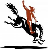 foto of bucking bronco  - Vector art of a Rodeo cowboy riding a bucking bronco - JPG