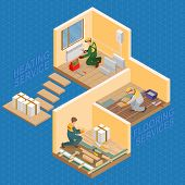 Isometric Interior Repairs Concept. Repairer Is Fixing Radiator.  Builder In Uniform Holds A Tile. T poster