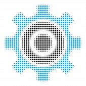 Cogwheel Halftone Vector Pictogram. Illustration Style Is Dotted Iconic Cogwheel Icon Symbol On A Wh poster