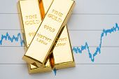 Gold Bar, Bullion Stack On Rising Price Graph As Financial Crisis Or War Safe Haven, Financial Asset poster