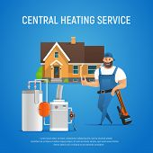 Vector Cartoon Character Plumber Central Heating Service Of House. Boiler Maintenance With Wrench. I poster