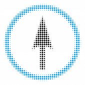 Sharp Rounded Arrow Halftone Vector Icon. Illustration Style Is Dotted Iconic Sharp Rounded Arrow Ic poster