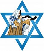 picture of rabbi  - A vector illustration of a Rabbi with Talit blows the shofar with the star of David for the Jewish holiday Yom Kippur - JPG