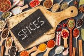 Indian Spices, Herbs And Empty  Cutting Board On Black Background.  Colorful Spices, Top View. Organ poster