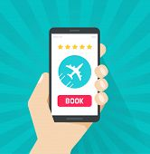 Flight Tickets Online From Smartphone Vector Illustration, Flat Cartoon Mobile Phone With Plane And  poster